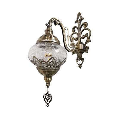1 Light Sconce Lighting Art Deco Lantern White/Yellow Cracked Glass Wall Mount Lamp Fixture, 5