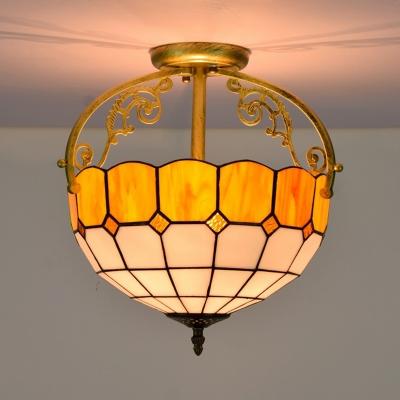 2 Lights Dining Room Semi Flush Lighting Tiffany Yellow/Blue/Orange Ceiling Fixture with Grid Cut Glass Shade