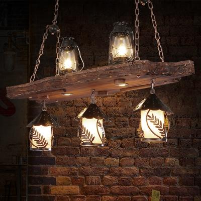 Black 5 Lights Island Light Fixture Vintage Wood Kerosene Billiard Lamp for Dining Room, HL585401