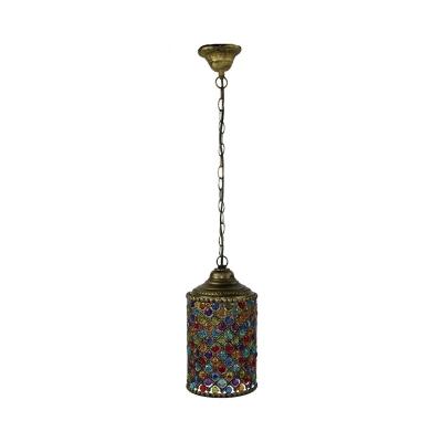 Metal Bronze Down Lighting Pendant Cylindrical 1-Light Retro Hanging Light Fixture for Dining Room