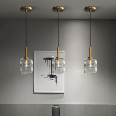 Minimalist Urn Hanging Lamp Clear Glass 1 Bulb Ceiling Pendant Light in Brass for Dining Room