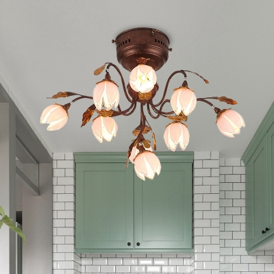 Rust 9 Heads Semi Flush Light Antique Frosted Pink Glass Lotus LED Ceiling Fixture for Living Room