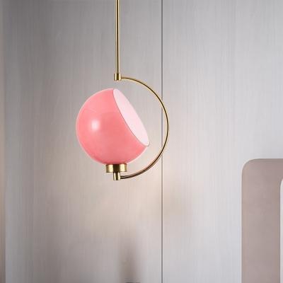 Spherical Ceiling Light Contemporary Metal 1 Head Pendant Lighting Fixture in Pink