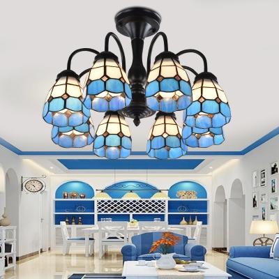 Stained Glass Blue Ceiling Flush Mount Grid Patterned 6/8 Lights Baroque Semi Flush Light for Living Room