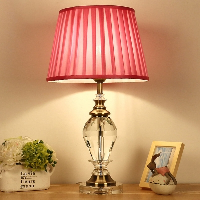 1 Bulb Fabric Nightstand Light Minimalism Blue/Pink/Beige Tapered Bedroom Table Lamp with Urn-Shaped Crystal Base