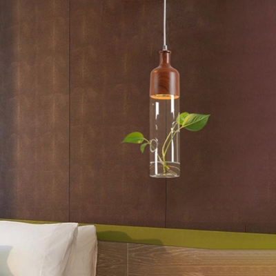 1 Head Tube Pendant Lighting Industrial Clear Glass Hanging Light in Brown with Plant Deco