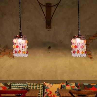 Antique Cascading Ceiling Pendant Light 1 Bulb Metal Hanging Lamp in Rust for Restaurant