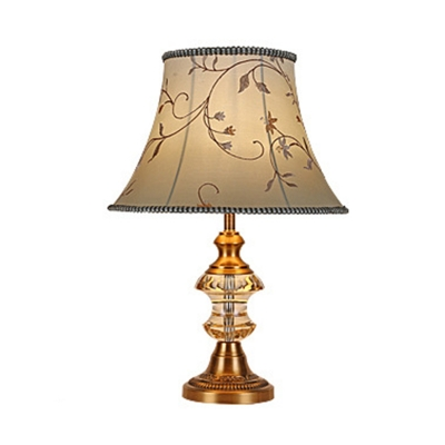 Beige Bell Table Lamp Traditional Clear K9 Crystal Single Head Restaurant Nightstand Light with Braided Trim