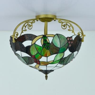 Brass Grape Ceiling Mount Tiffany Style 2/3 Lights Cut Glass Semi Flush Light for Bedroom