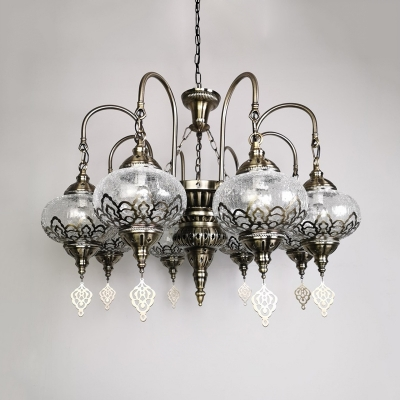 Clear Crackle Glass Radial Chandelier Vintage 8 Bulbs Restaurant Ceiling Pendant Lamp in Bronze