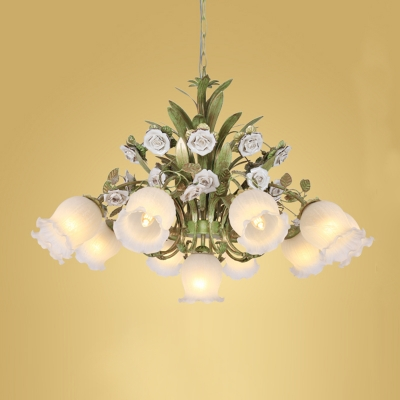 Floral Cream Glass Chandelier Light Traditionalism 4/7/9 Bulbs Bedroom LED Pendant Lamp in Green