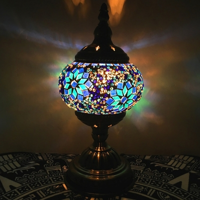 Incense Burner Shape Bar Nightstand Light Traditional Stained Glass 1 Bulb Red/White/Green Table Lamp