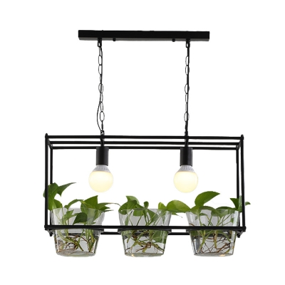 Metal Black/Gold Ceiling Pendant with Plant Deco Rectangle 2 Heads Industrial Island Light