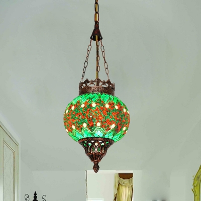 Stained Glass Green Hanging Light Kit Lantern 1 Light Art Deco Ceiling Suspension Lamp