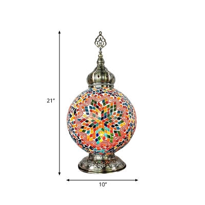 1 Light Global Table Lighting Vintage White/Red/Yellow Stained Glass Night Lamp for Coffee House