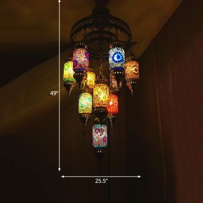 10 Lights Cylinder Chandelier Lighting Art Deco Pink-Blue-Yellow Glass Hanging Lamp