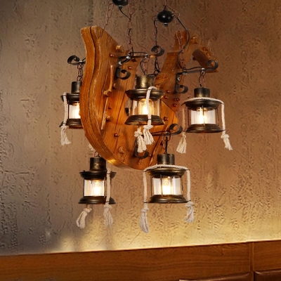 6 Lights Lantern Island Pendant Farmhouse Wood Clear Glass Linear Chandelier for Restaurant