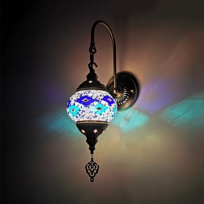 Oval Bar Wall Light Fixture Art Deco Stained Glass 1 Bulb Yellow/Gold/Lake Blue Sconce Lighting with Gooseneck Arm