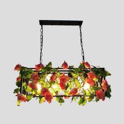 Rectangle Restaurant Island Ceiling Light Retro Metal 4 Heads Black LED Drop Lamp with Rose Decor
