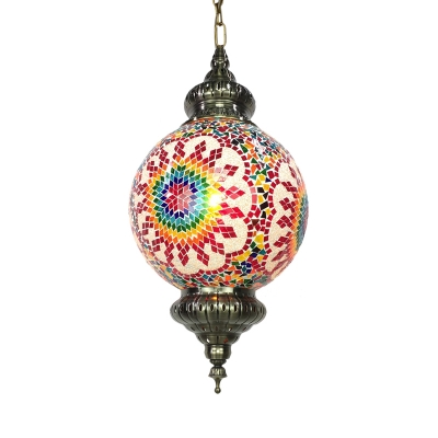 Stained Glass Ball Hanging Lighting Traditional 1 Light Restaurant Suspension Pendant Lamp in Red/Yellow/Blue