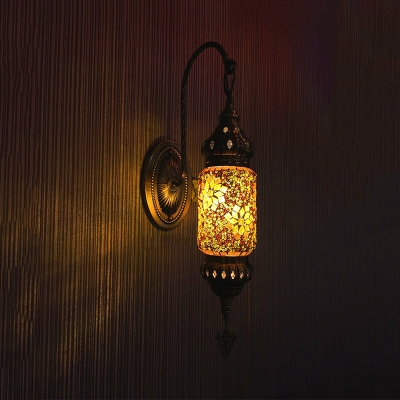 1 Light Wall Lighting Art Deco Corridor Sconce Lamp Fixture with Cylindrical Stained Glass Shade in Purple/Gold/Rose Red