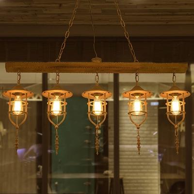 5 Lights Metallic Billiard Lamp Vintage Brown Caged Dining Room Hanging Island Light with Linear Wood Shelf, HL585384
