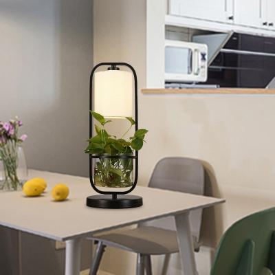 Black Barrel Night Table Lamp Industrial Metal LED Living Room Plant Nightstand Light