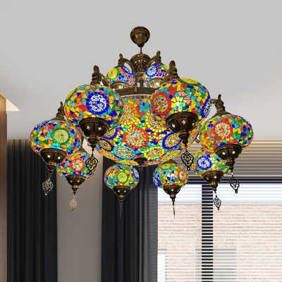 Bronze 19 Heads Chandelier Lighting Vintage Stained Glass 3 Layer Hanging Ceiling Light