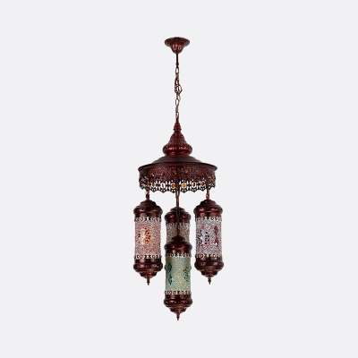 Copper 4 Lights Chandelier Lighting Art Deco Stained Glass Cylinder Hanging Pendant Lamp
