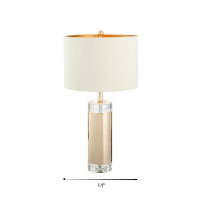 White Cylinder Table Lamp Minimalism Clear K9 Crystal 1 Head Living Room Nightstand Light
