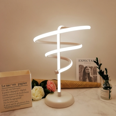 White Spiral Task Lighting Contemporary LED Acrylic Reading Book Light in White/Warm Light