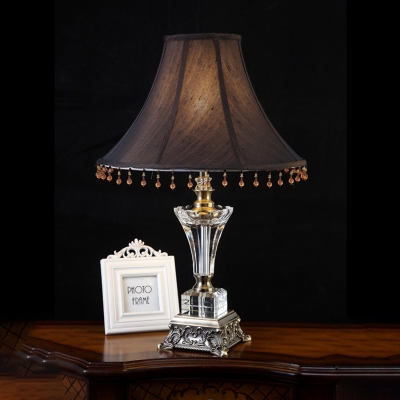 Beautifulhalo coupon: 1 Bulb Crystal Night Light Antique Black and Brown Paneled Bell Bedroom Table Lamp with Sculpted Metal Base