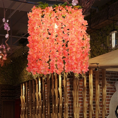Beautifulhalo coupon: 1 Bulb Flower Hanging Pendant Vintage Pink Metal LED Ceiling Hang Fixture for Restaurant