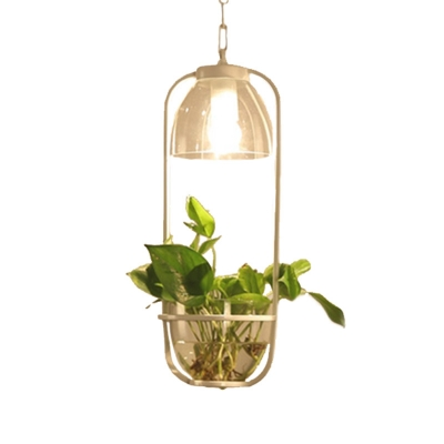 1 Head Metal Ceiling Suspension Lamp with Plant Deco Industrial Black/White/Gold Rectangle Dining Table Pendant Light