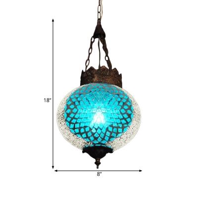 Art Deco Global Pendant Lighting 1 Head Blue/Orange Red Glass Hanging Ceiling Lamp for Corridor