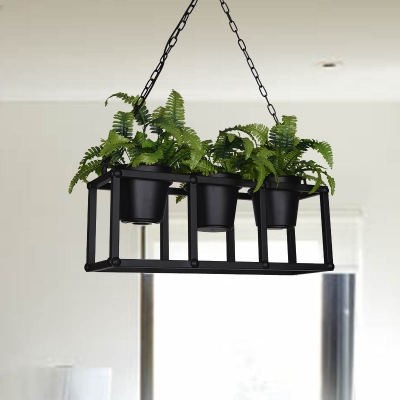 Black 2/3/5 Heads Island Lamp Industrial Metal Rectangular LED Plant Hanging Ceiling Light for Restaurant