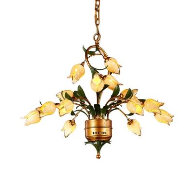 Brass 15 Heads Chandelier Lighting Vintage Frosted Glass Bloom LED Pendant Ceiling Light for Bedroom