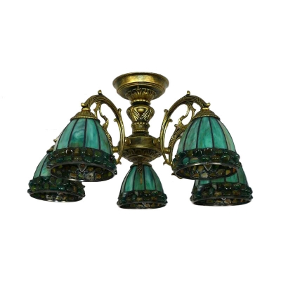 Cut Glass Bowl Semi Flush Mount Light Fixture Tiffany 5/8 Lights Green Ceiling Lamp for Bedroom