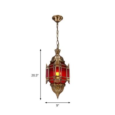 Lantern Living Room Chandelier Light Vintage Metal 3 Heads Brass Pendant Lighting Fixture