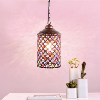 Metal Rust Ceiling Light Cylinder 1 Head Traditional Pendant Lighting Fixture for Kitchen