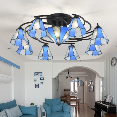 Stained Glass Conical Semi Mount Lighting Baroque 9/11 Lights Light Blue and White/Blue Ceiling Light Fixture