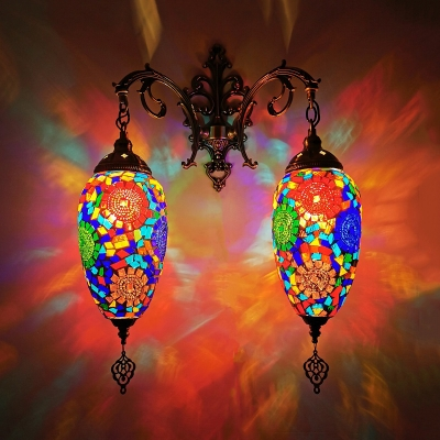 Teardrop Bar Wall Sconce Light Art Deco Stained Glass 2 Bulbs Red/Orange/Sky Blue Wall Mount Lighting
