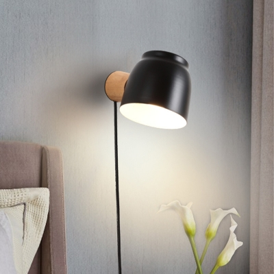 1 Head Bedside Wall Lighting Modernism Black Sconce Light Fixture with Domed Metal Shade