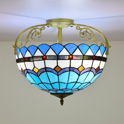 Beaded Cut Glass Semi Flush Light Fixture Tiffany Style 3 Lights Brown/Yellow/Blue Ceiling Lighting for Bedroom