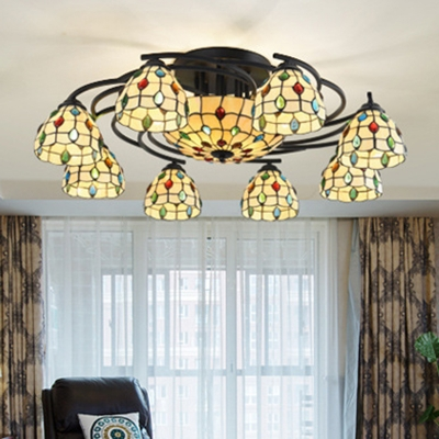 Beige Jewelry Semi Flush Light Fixture Mediterranean 9/11 Lights Stained Glass Ceiling Lamp