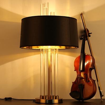 Crystal Rod Black Table Light Drum Single Bulb Vintage Night Lamp with Round Pedestal