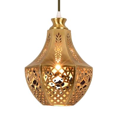 Laser Cut Pendant Light Art Deco Metal 1 Bulb Suspended Lighting Fixture in Brass