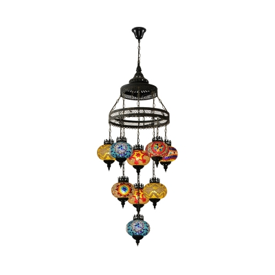 Stained Glass Black Pendant Lighting Lantern 9 Bulbs Bohemia Style Ceiling Chandelier for Coffee House