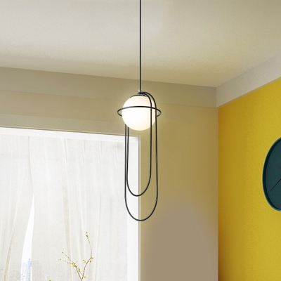 1 Head Global Pendant Lighting Minimalism Opal Glass Hanging Ceiling Light in Black