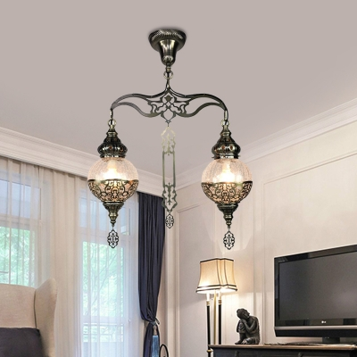 2 Lights Gourd/Globe Chandelier Lighting Art Deco Clear Prismatic Glass Hanging Lamp Kit